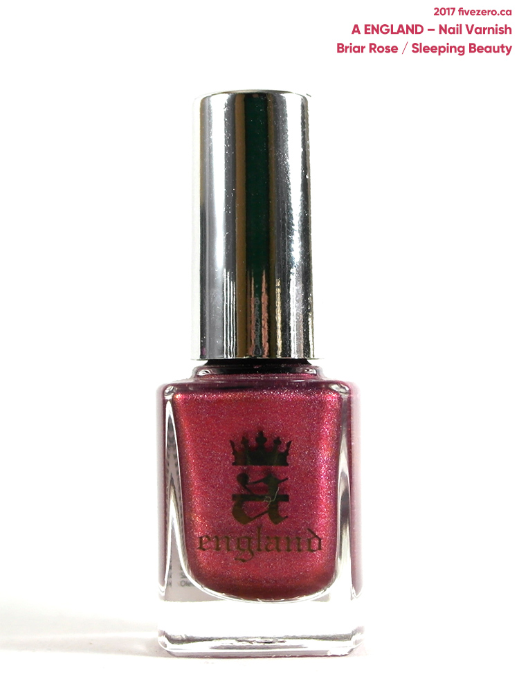A England Nail Varnish in Briar Rose/Sleeping Beauty, swatch, indoors