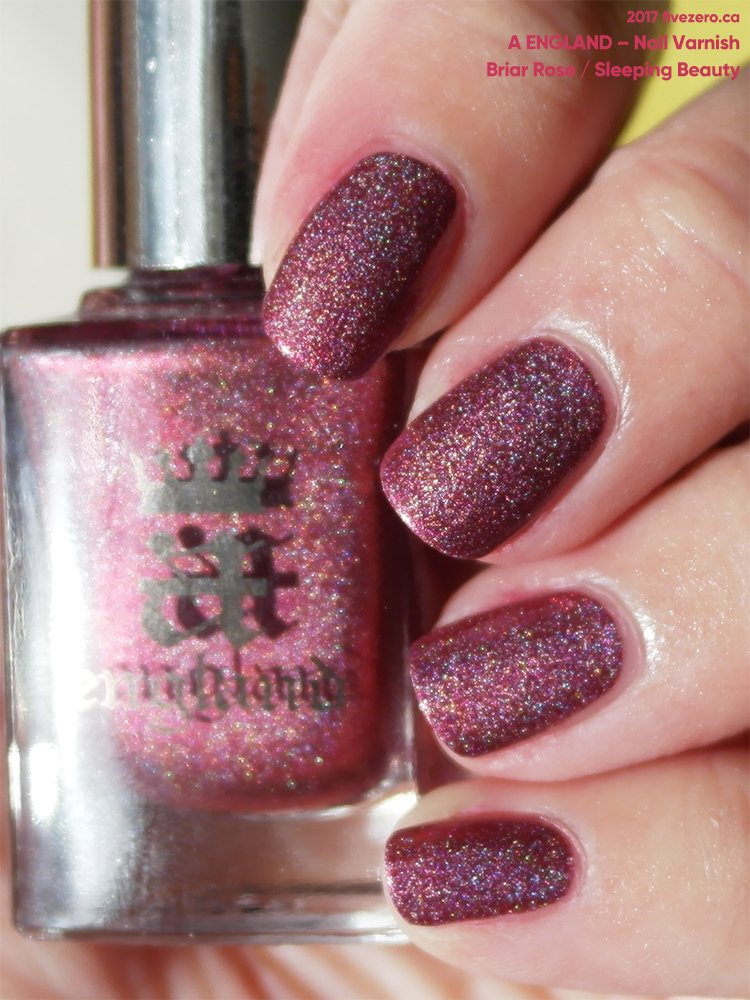 A England Nail Varnish in Briar Rose/Sleeping Beauty, swatch, sunlight