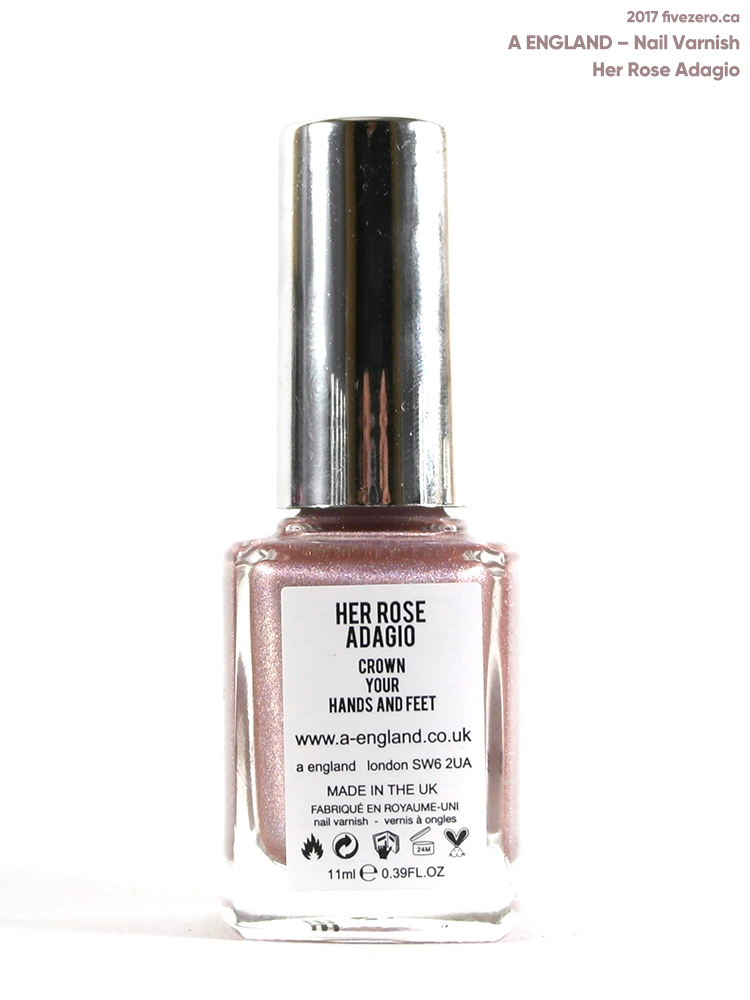 A England Nail Varnish in Her Rose Adagio, label