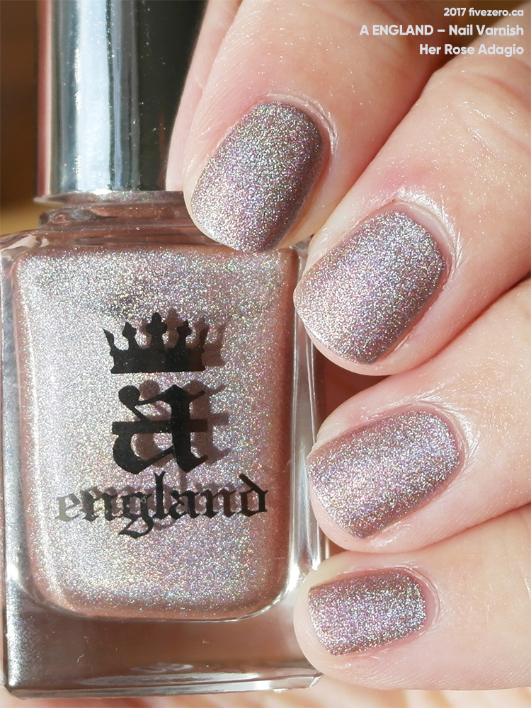 A England Nail Varnish in Her Rose Adagio, swatch, sunlight