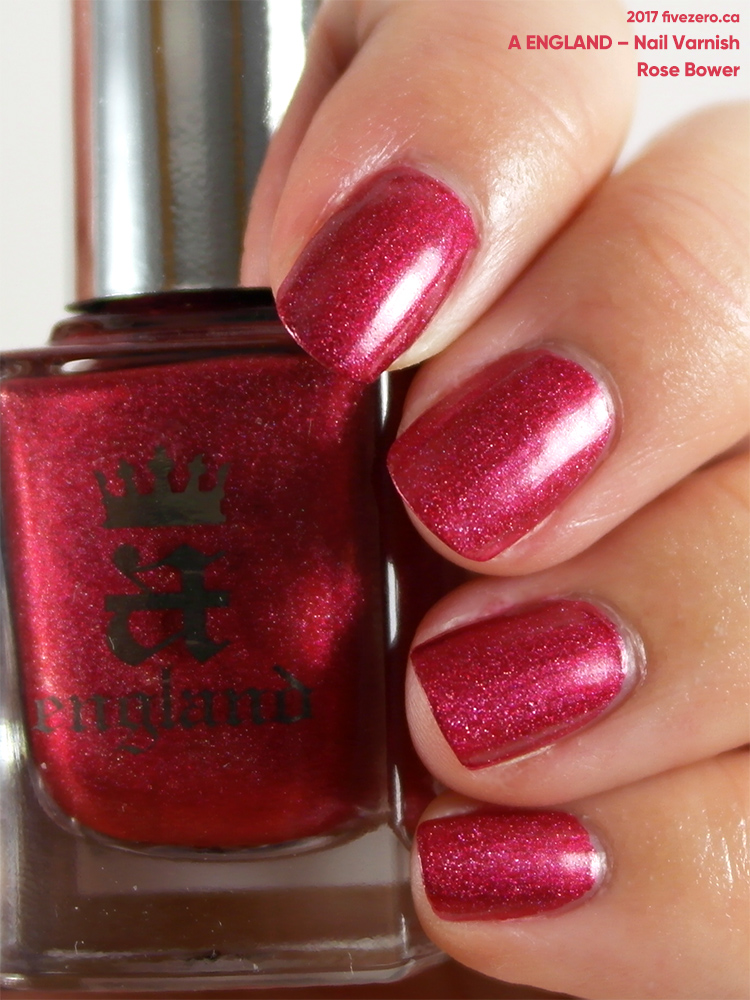 A England Nail Varnish in Rose Bower, swatch, indoors