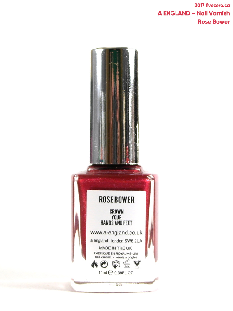 A England Nail Varnish in Rose Bower, label