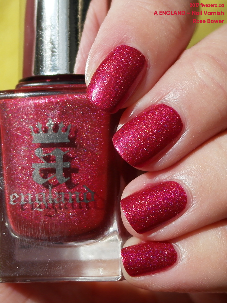 A England Nail Varnish in Rose Bower, swatch, sunlight