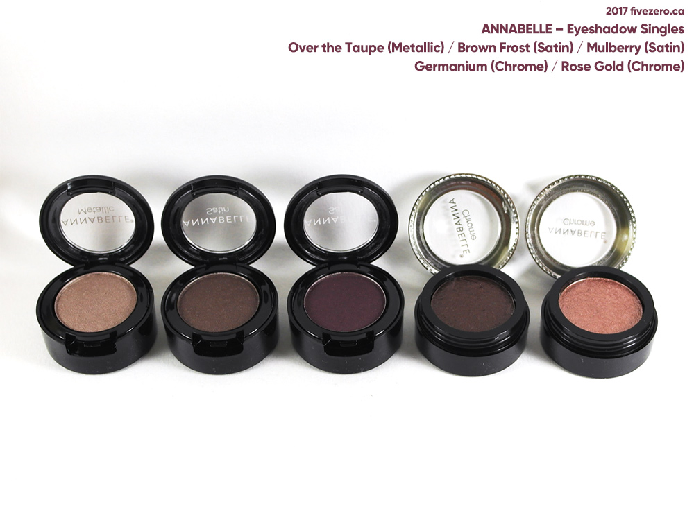 Annabelle Eyeshadow Singles in Over the Taupe, Brown Frost, Mulberry, Germanium, Rose Gold