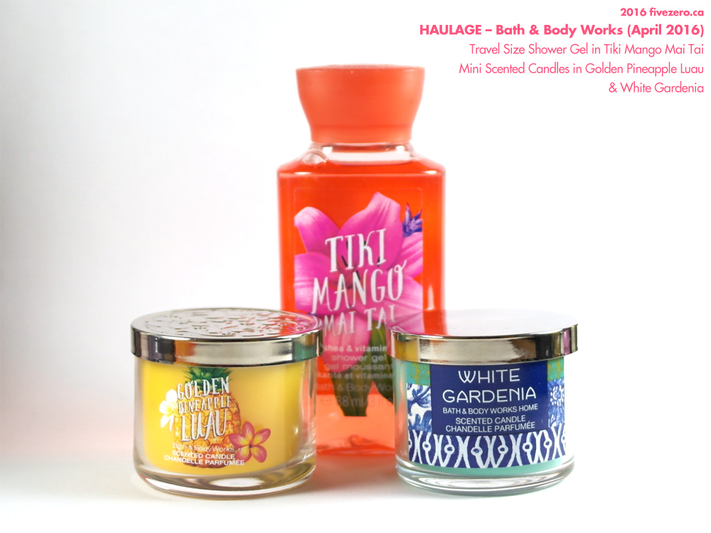 Bath & Body Works mini scented candles in Golden Pineapple Luau and White Gardenia, Travel Size Shower Gel in Tiki Mango Mai Tai