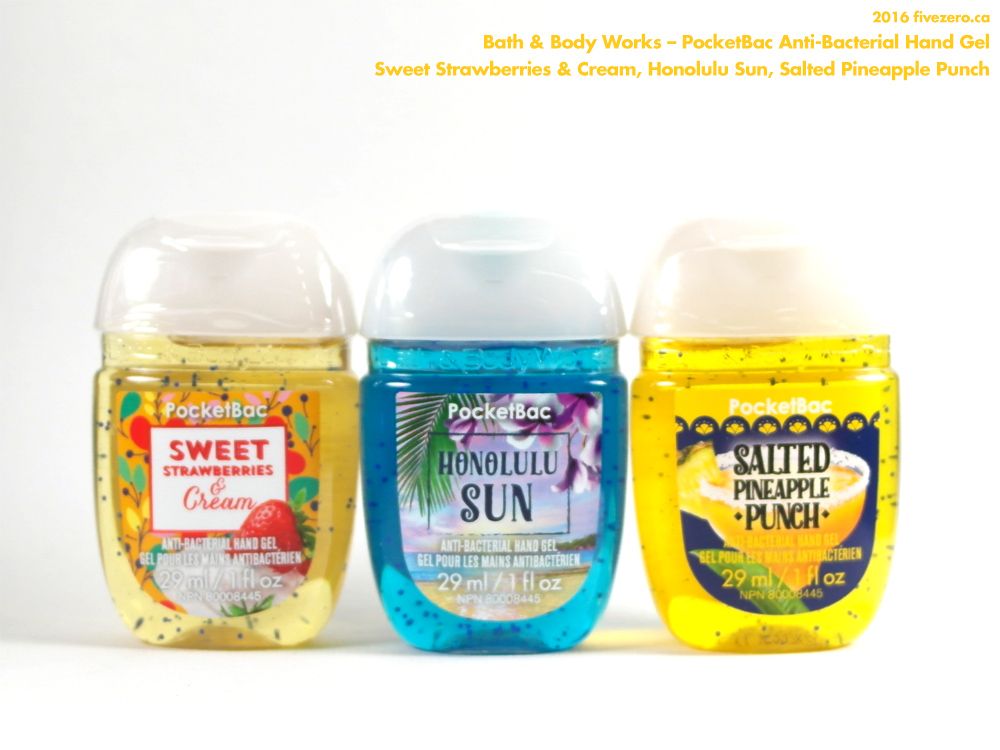 Bath & Body Works, PocketBac Anti-Bacterial Hand Gel sanitizer in Sweet Strawberries & Cream, Honolulu Sun, Salted Pineapple Punch