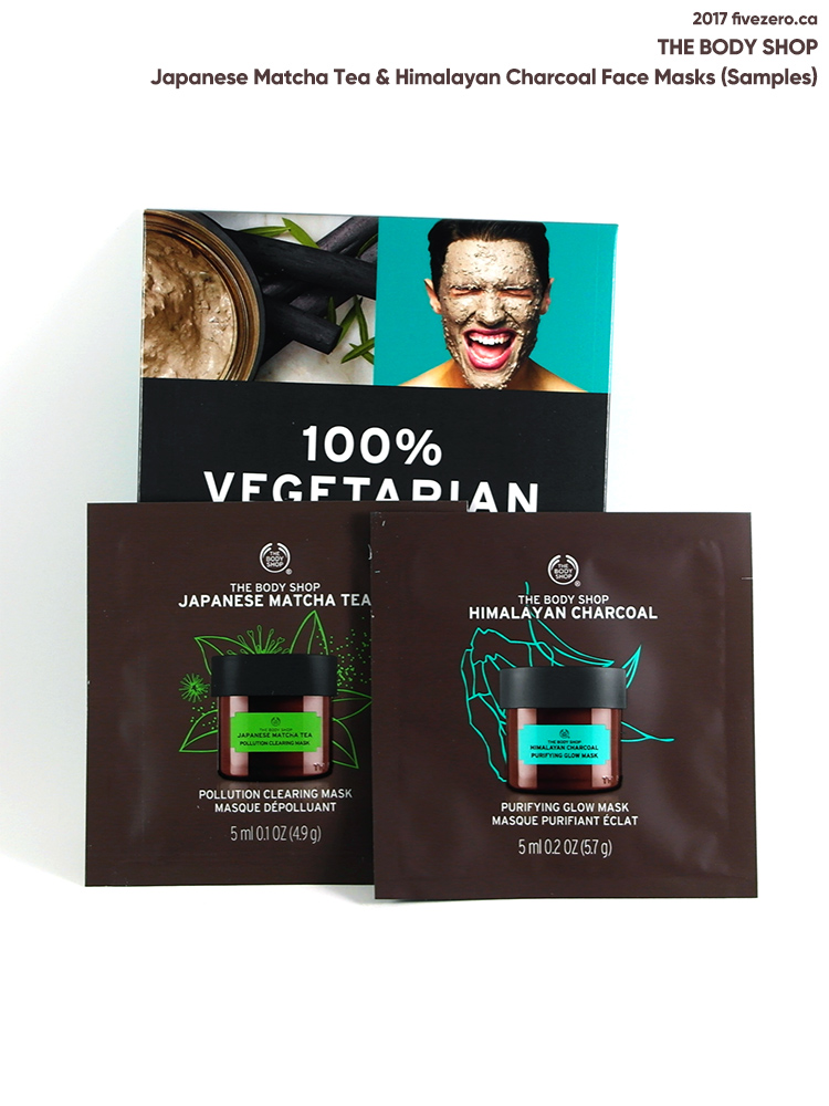 The Body Shop 100% Vegetarian Expert Face Masks in Japanese Matcha Tea and Himalayan Charcoal (samples)