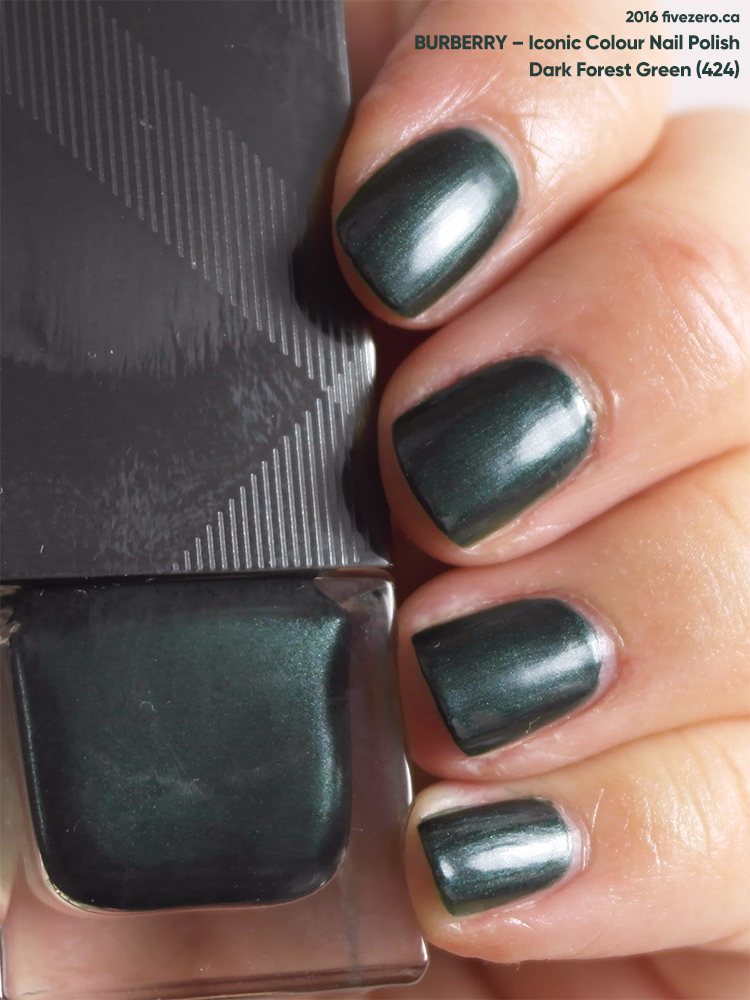 Burberry Iconic Colour Nail Polish in Dark Forest Green, swatch