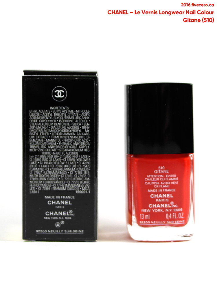 Chanel Le Vernis Longwear Nail Colour in Gitane, label