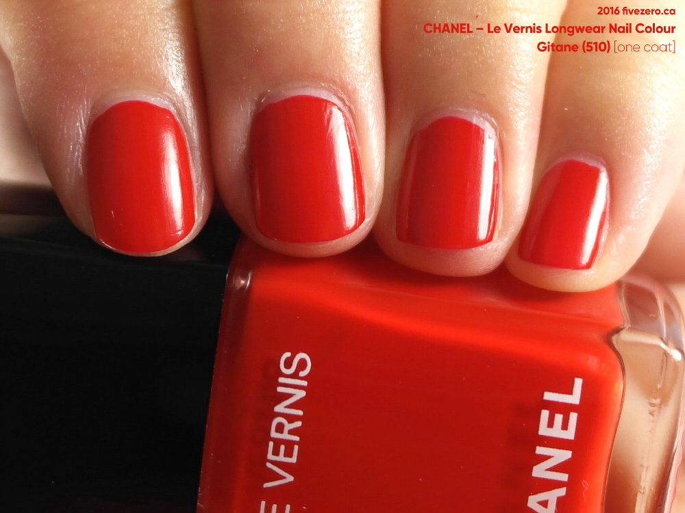 Chanel Le Vernis Longwear Nail Colour in Gitane, one coat swatch