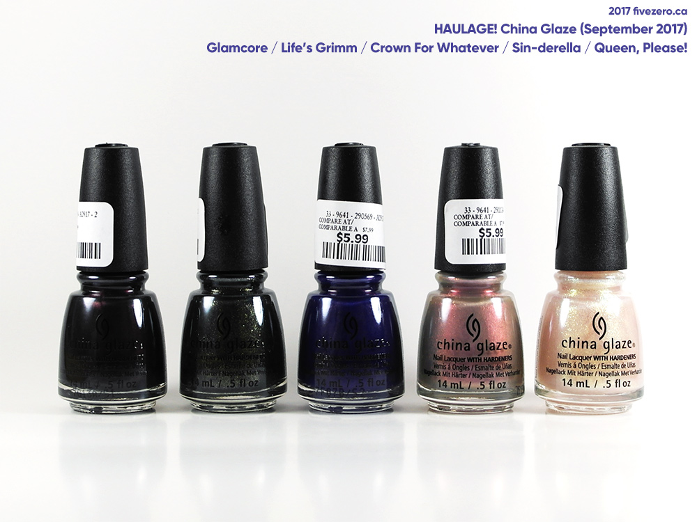 China Glaze haulage, September 2017, Happily Never After and Street Regal collections