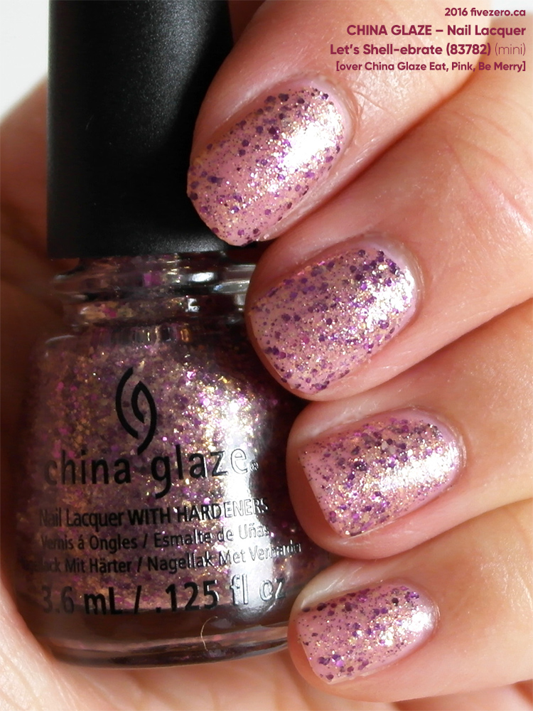 China Glaze Nail Lacquer in Let's Shell-ebrate (over Eat, Pink, Be Merry), swatch