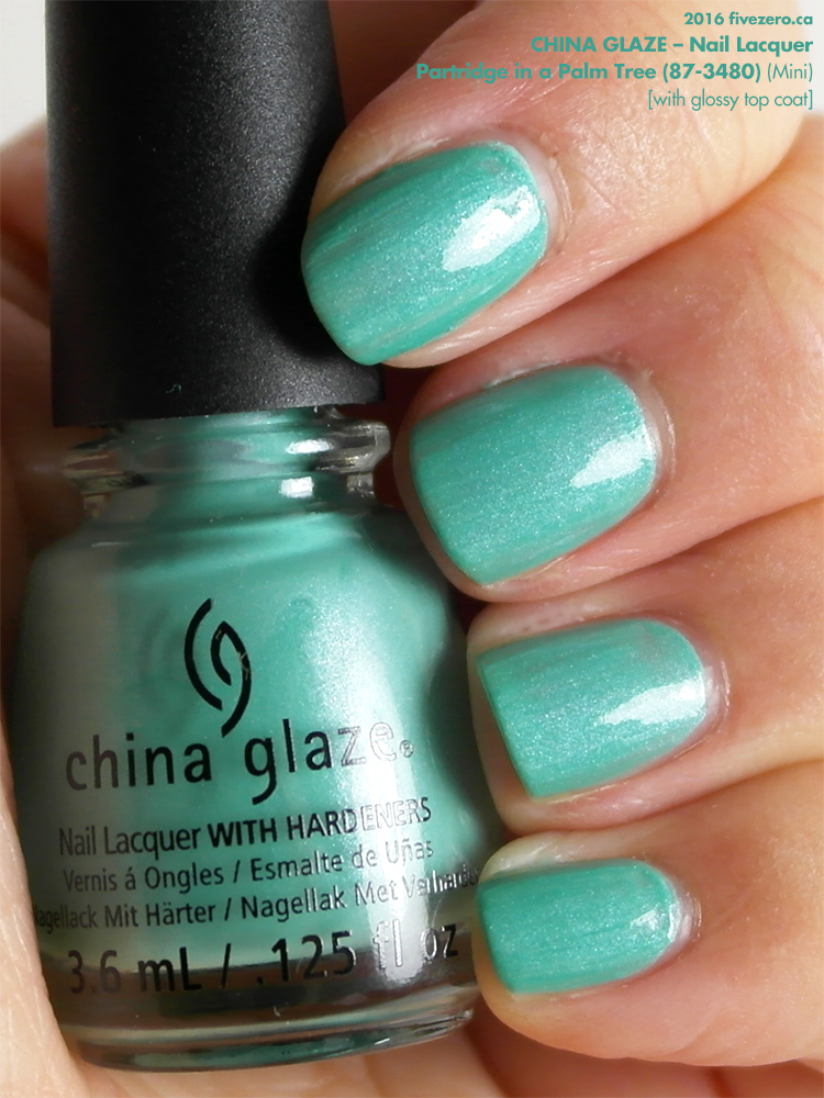China Glaze Nail Lacquer in Partridge in a Palm Tree (Mini) with top coat, swatch