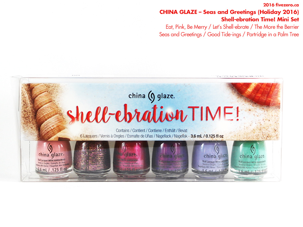 China Glaze Nail Lacquer Mini Set in Shell-ebration Time! (Seas & Greetings holiday 2016 collection)