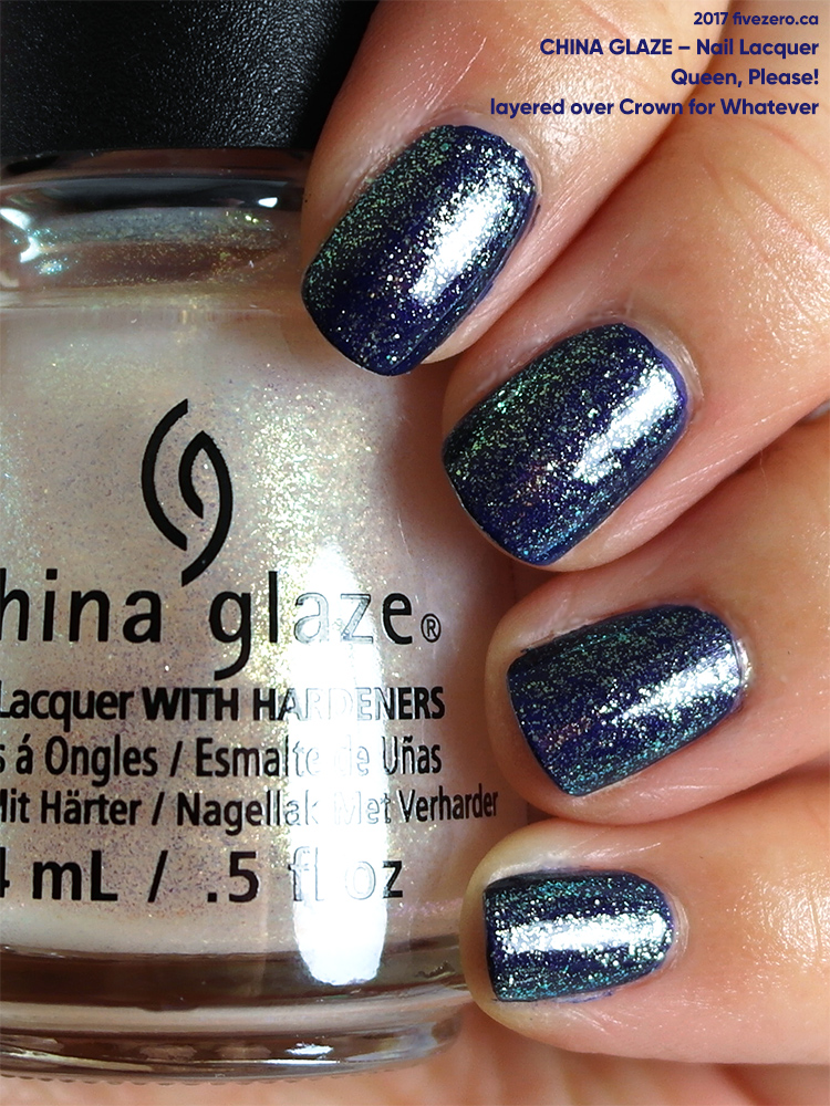 China Glaze Nail Lacquer in Queen, Please! layered over Crown for Whatever, swatch