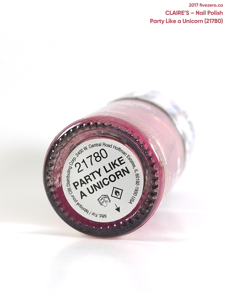 Claire's Nail Polish in Party Like a Unicorn, label