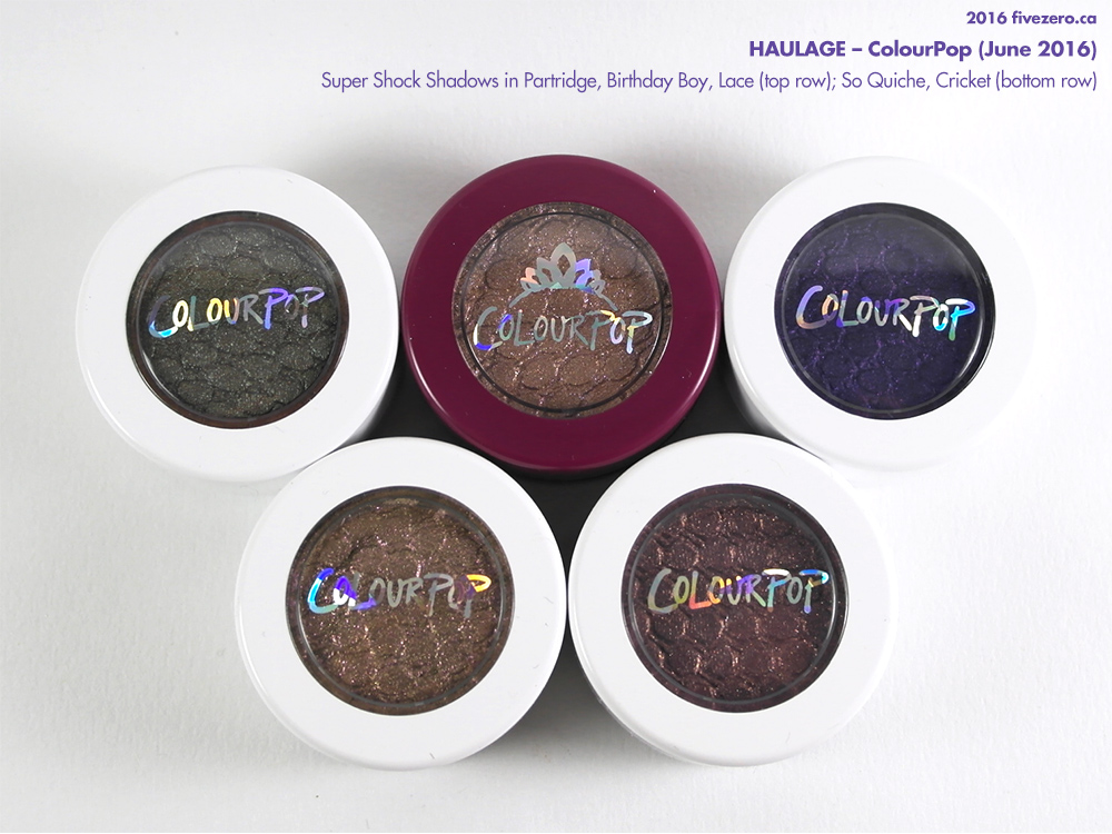 ColourPop Super Shock Shadows in Partridge, Birthday Boy, Lace, So Quiche, Cricket