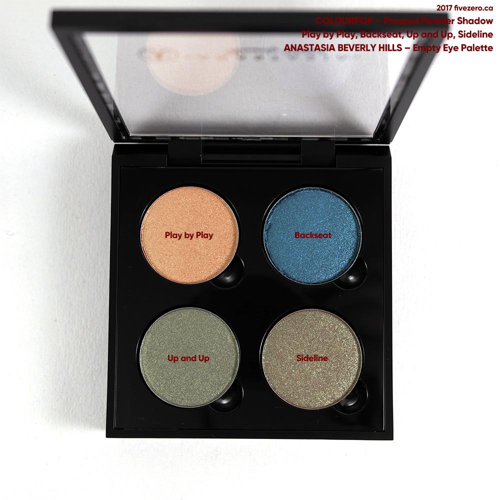 ColourPop Pressed Powder Shadows in Anastasia Beverly Hills eye palette