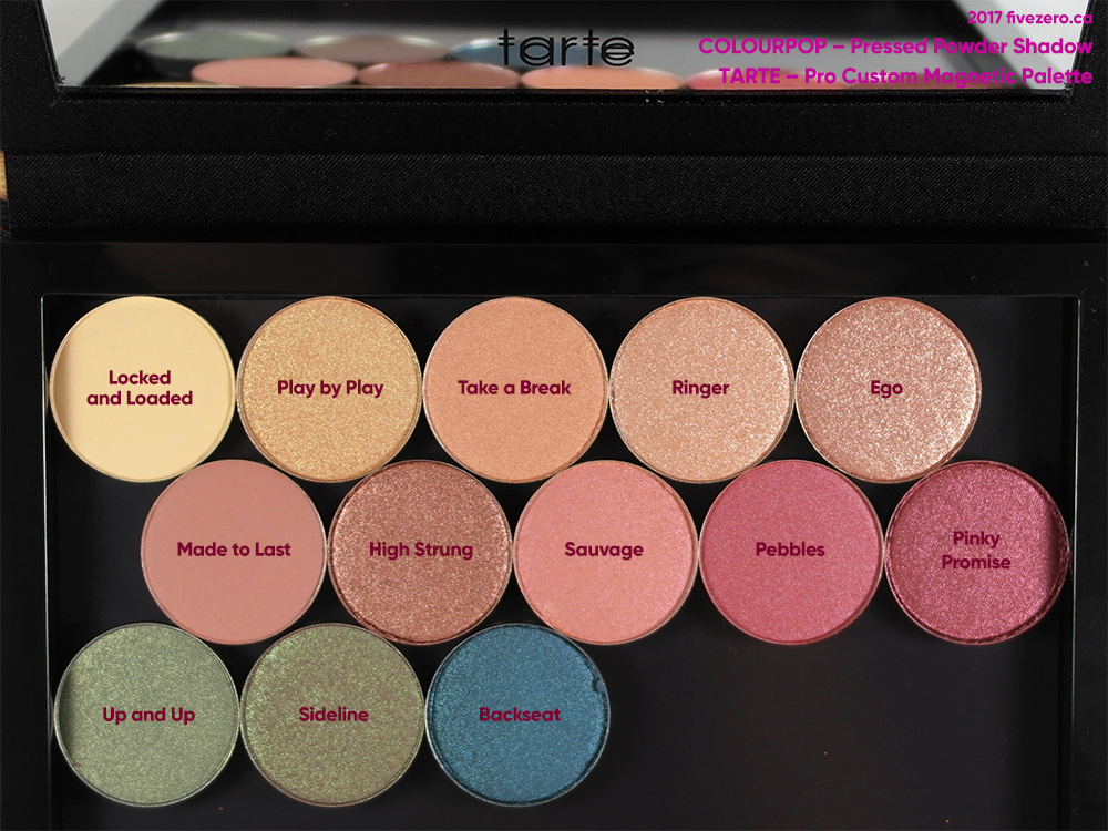 ColourPop Pressed Powder Shadows in tarte Pro Custom Magnetic Palette