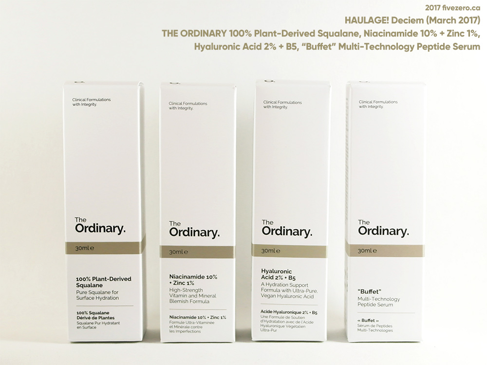 The Ordinary by DECIEM haulage: Squalane, Niacinamide, Hyaluronic Acid, and Buffet