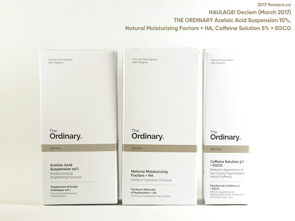 The Ordinary by DECIEM haulage: Azelaic Acid, Natural Moisturizing Factors + HA, and Caffeine