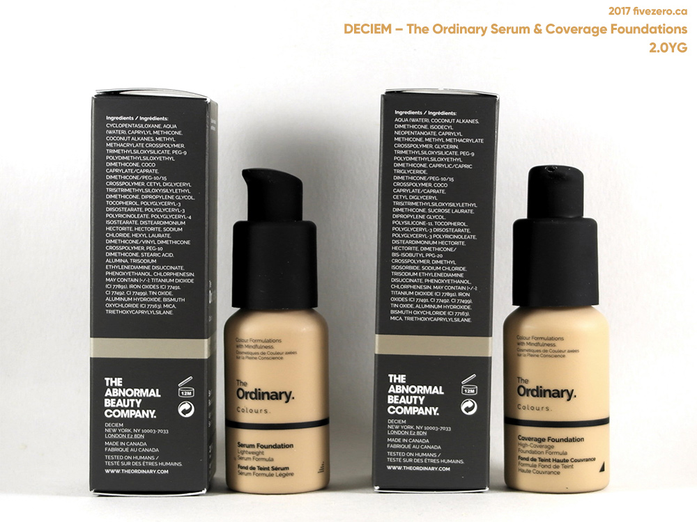 Deciem The Ordinary Colours Serum & Coverage Foundations in 2.0YG, pumps