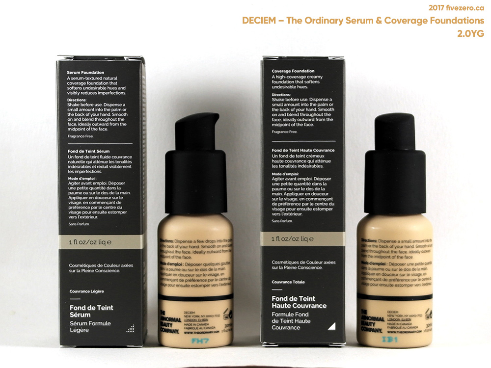 Deciem The Ordinary Colours Serum & Coverage Foundations in 2.0YG, label