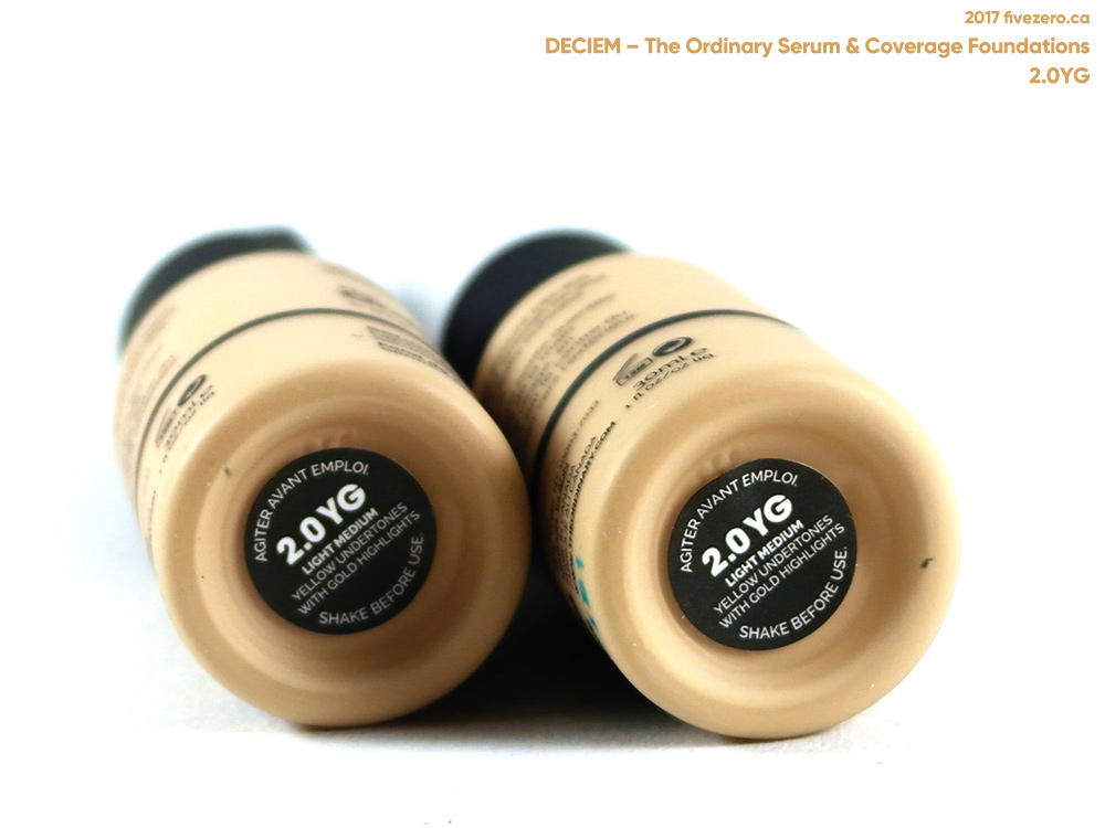 Deciem The Ordinary Colours Serum & Coverage Foundations in 2.0YG, color labels
