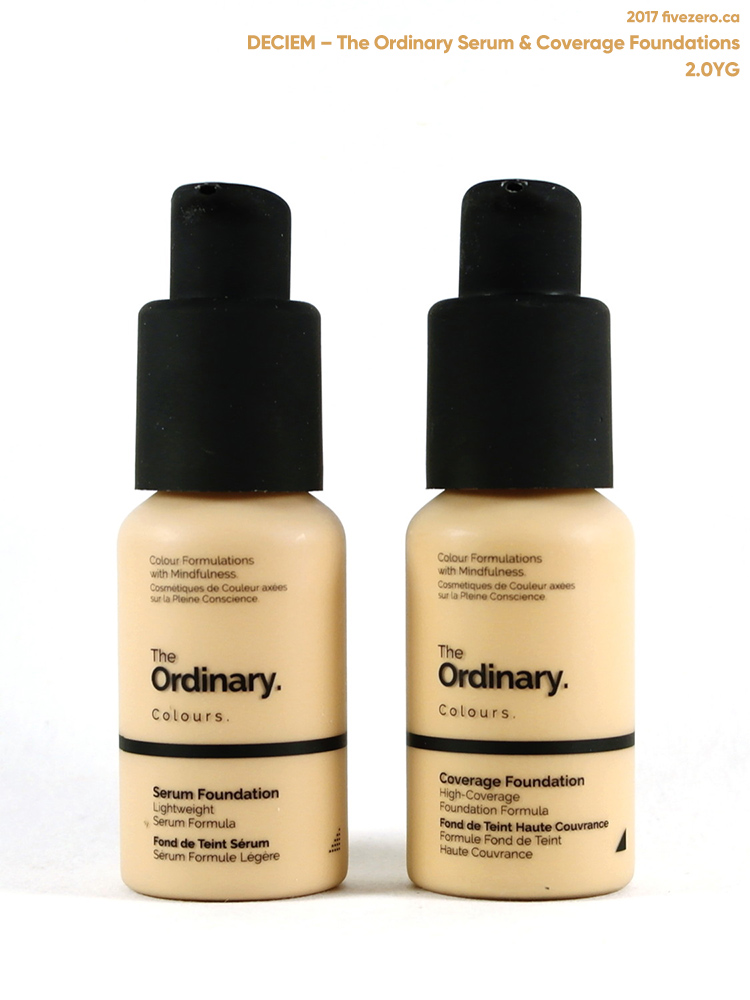 Deciem The Ordinary Colours Serum & Coverage Foundations in 2.0YG, bottles