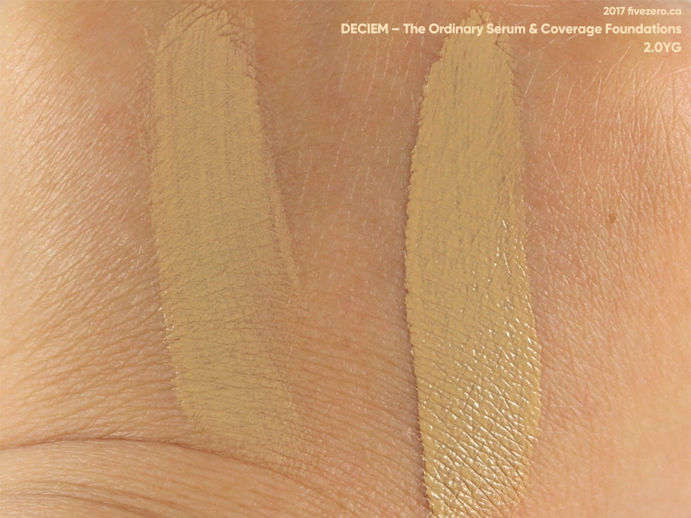 Deciem The Ordinary Colours Serum & Coverage Foundations in 2.0YG, swatch