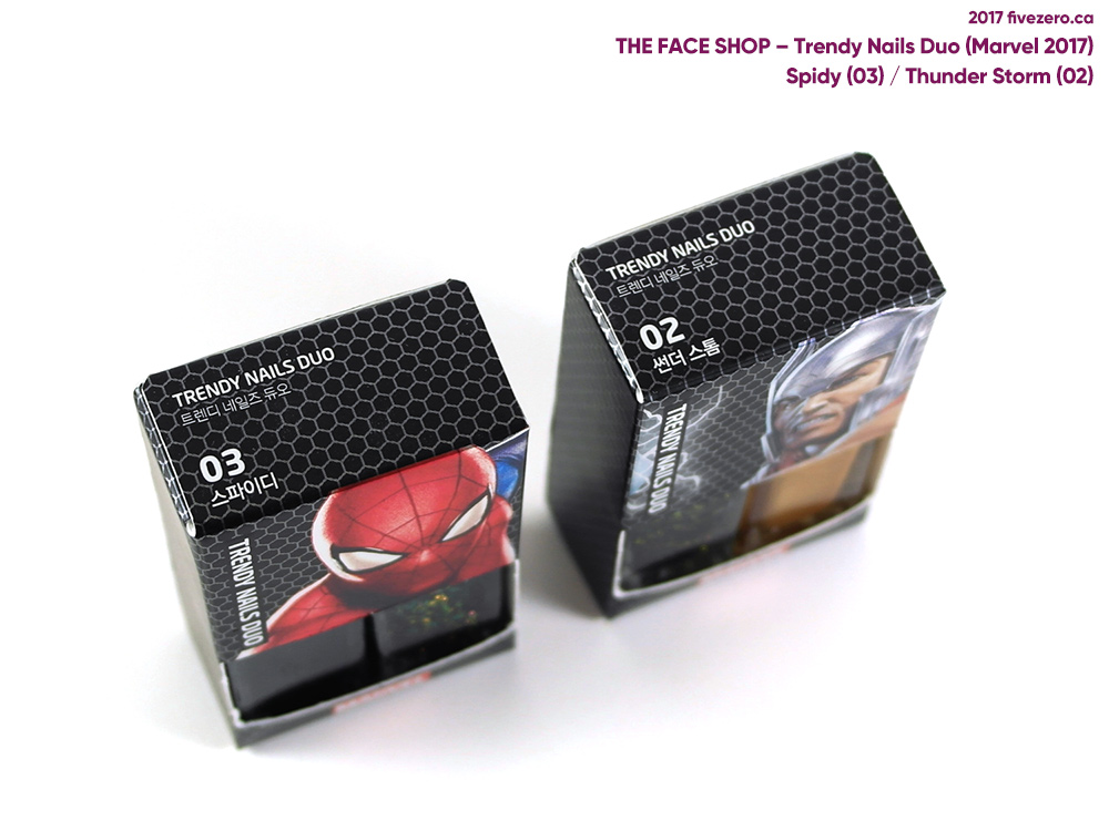 The Face Shop Trendy Nails Duo Marvel Collection, Spider-Man and Thor