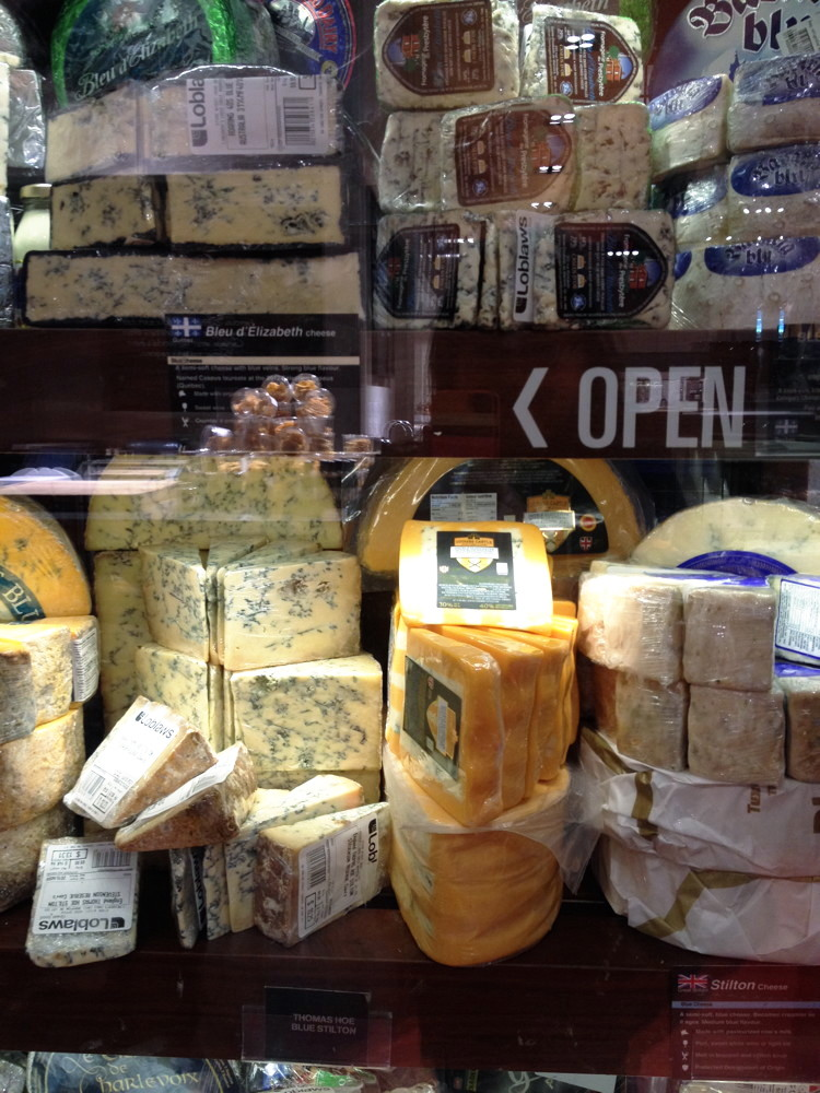 Blue cheese section of the Cheese Wall at Maple Leaf Gardens Loblaws, Toronto, ON, Canada