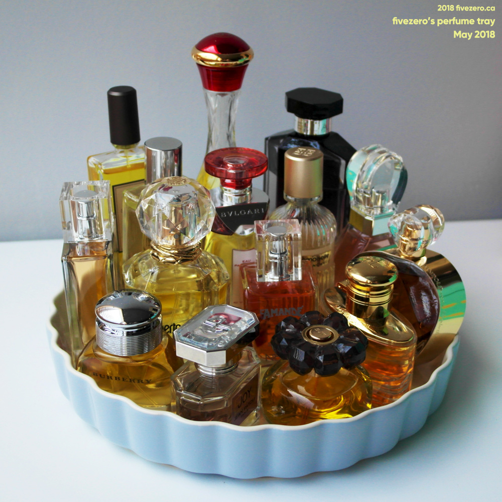 fivezero's perfume tray, May 2018