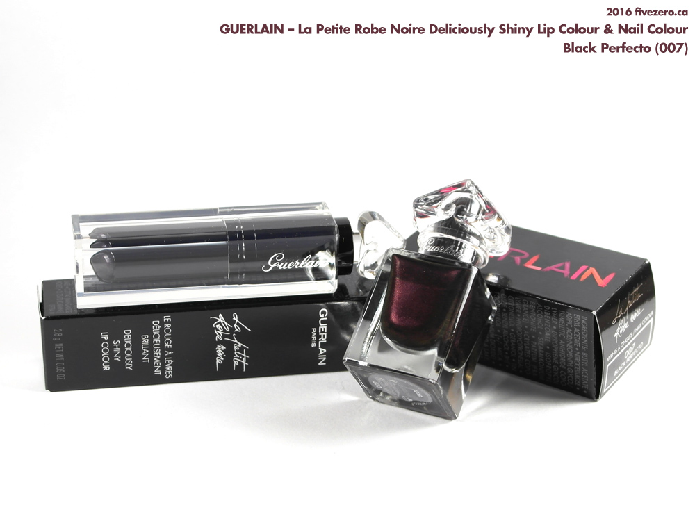 Guerlain La Petite Robe Noire Deliciously Shiny Lip Colour & Nail Colour in Black Perfecto