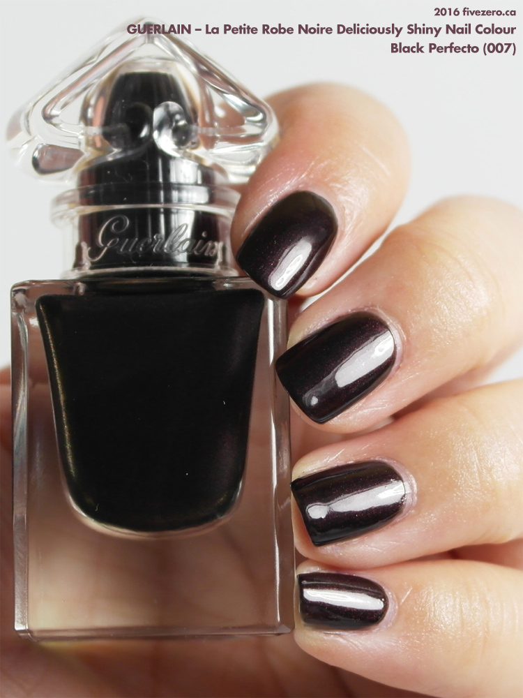 Guerlain La Petite Robe Noire Deliciously Shiny Nail Colour in Black Perfecto, swatch