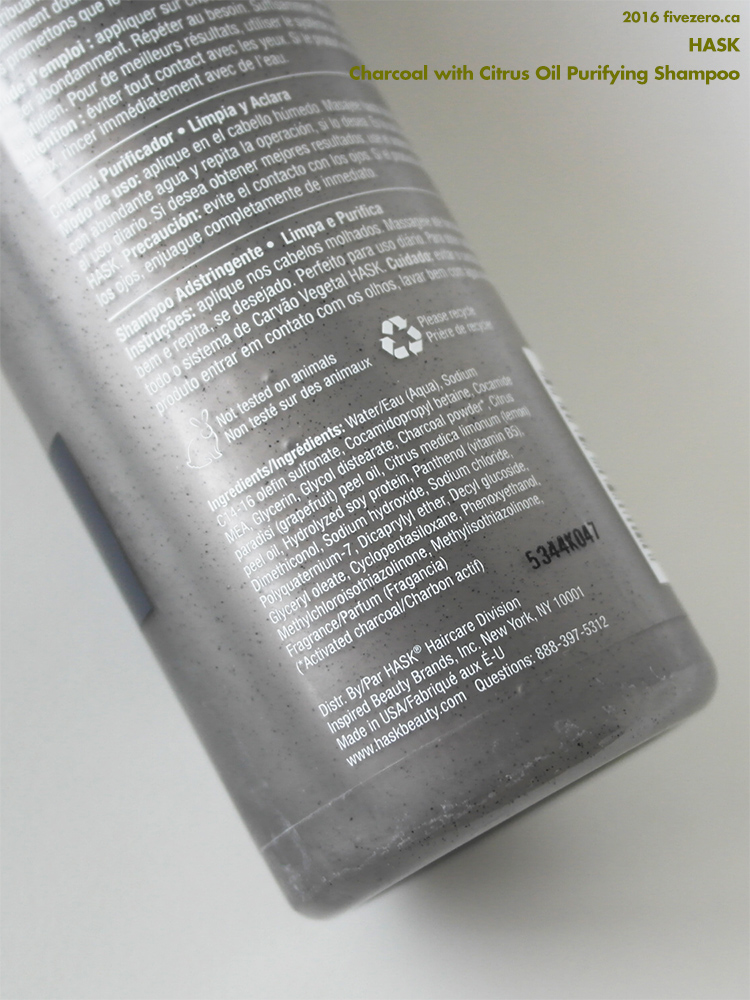 Hask Charcoal with Citrus Oil Purifying Shampoo, ingredients