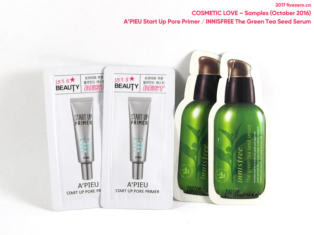 Cosmetic Love samples, A'Pieu, Innisfree, October 2016