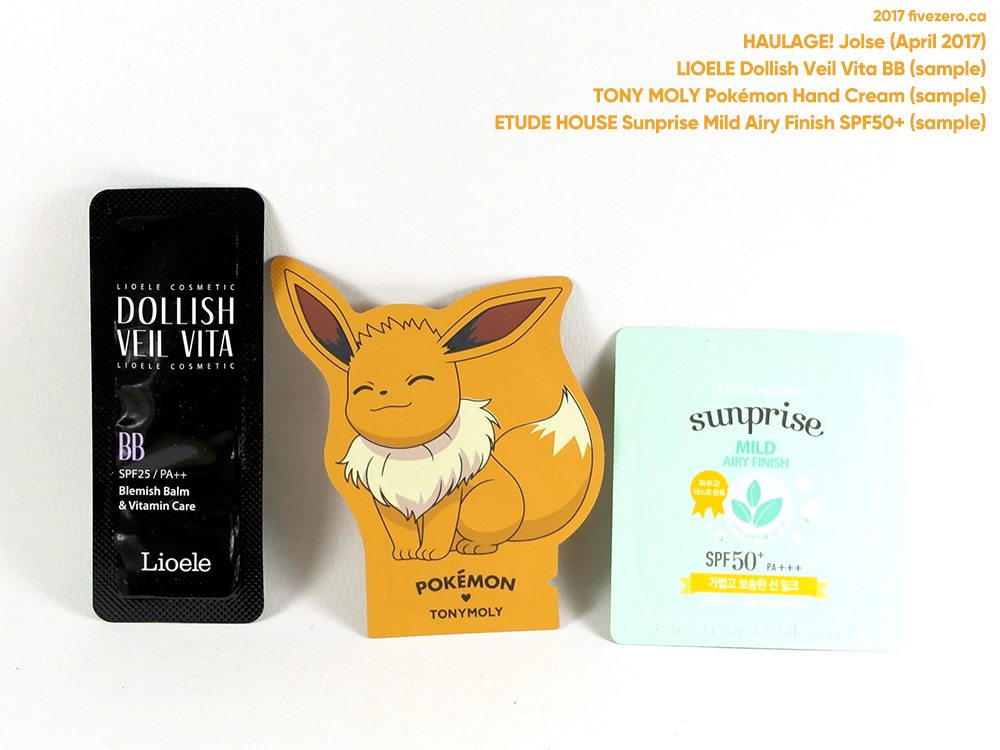 fivezero's Jolse haulage (April 2017), Lioele, Tony Moly & Etude House samples