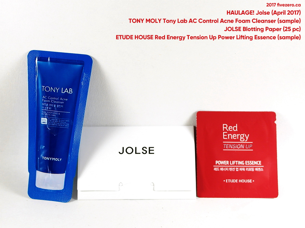 fivezero's Jolse haulage (April 2017), Tony Moly & Etude House samples, Jolse blotting sheets