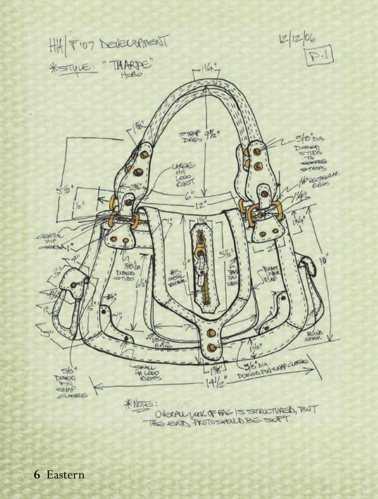 Design sketch for the Hayden-Harnett Tharpe Hobo by Toni Hacker