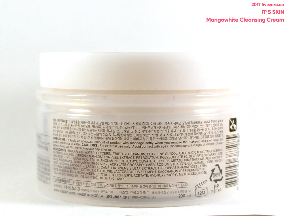 It's Skin Mangowhite Cleansing Cream, ingredients
