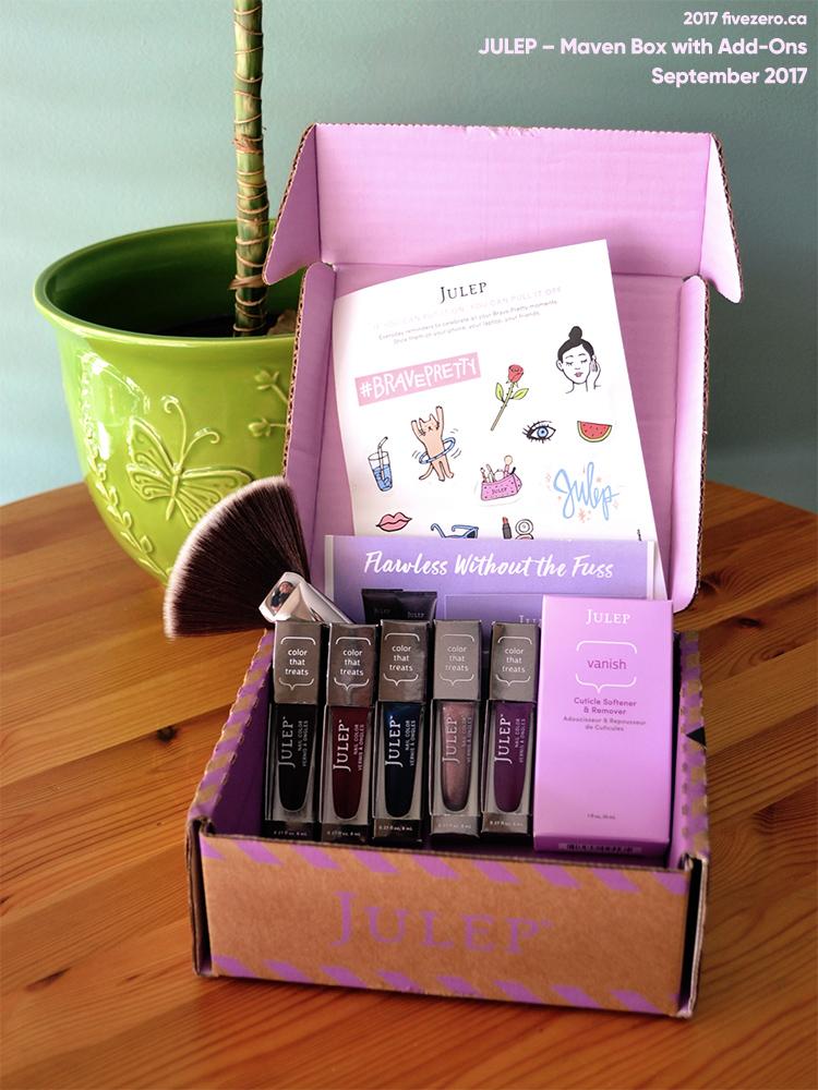 Julep Fan Brush, the Vanish Cuticle Softener & Remover, Nail Colors in Evan, Gladys, Hana, Kaitlyn, Katya