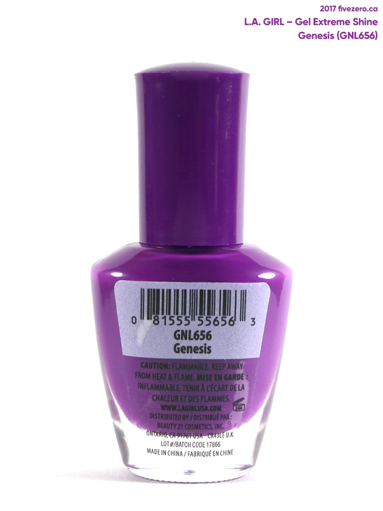 L.A. Girl Gel Extreme Shine in Genesis, label