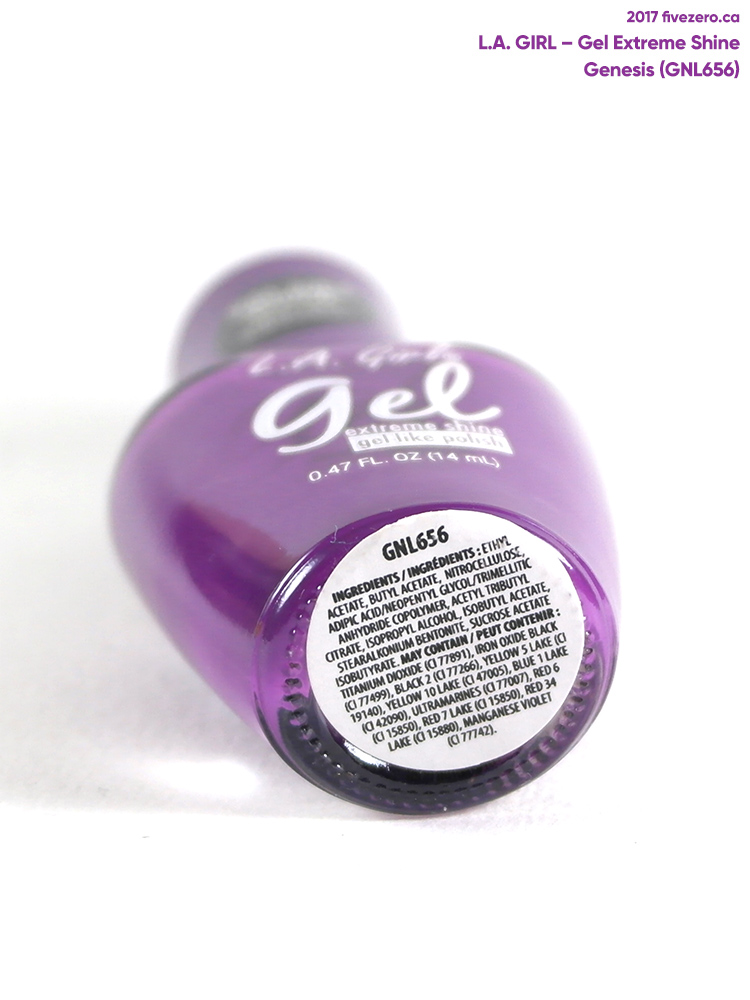 L.A. Girl Gel Extreme Shine in Genesis, label 2