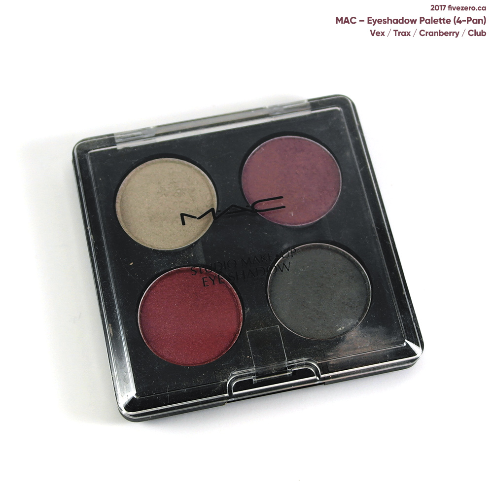MAC custom eyeshadow palette with Club, Cranberry, Trax, Vex