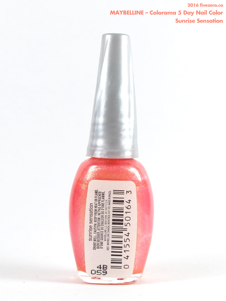 Maybelline Colorama 5 Day Nail Color in Sunrise Sensation, label