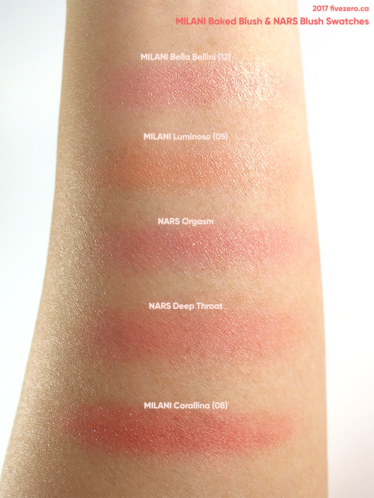Milani Baked Blushes in Luminoso, Corallina, Bella Bellini, and NARS Orgasm and Deep Throat
