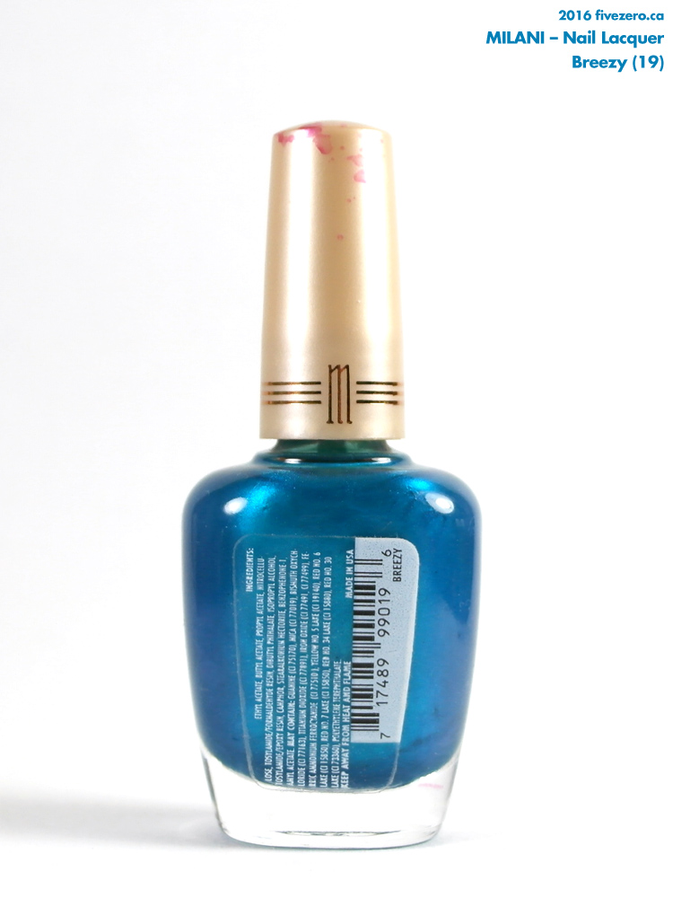 Milani Nail Lacquer in Breezy, ingredients label