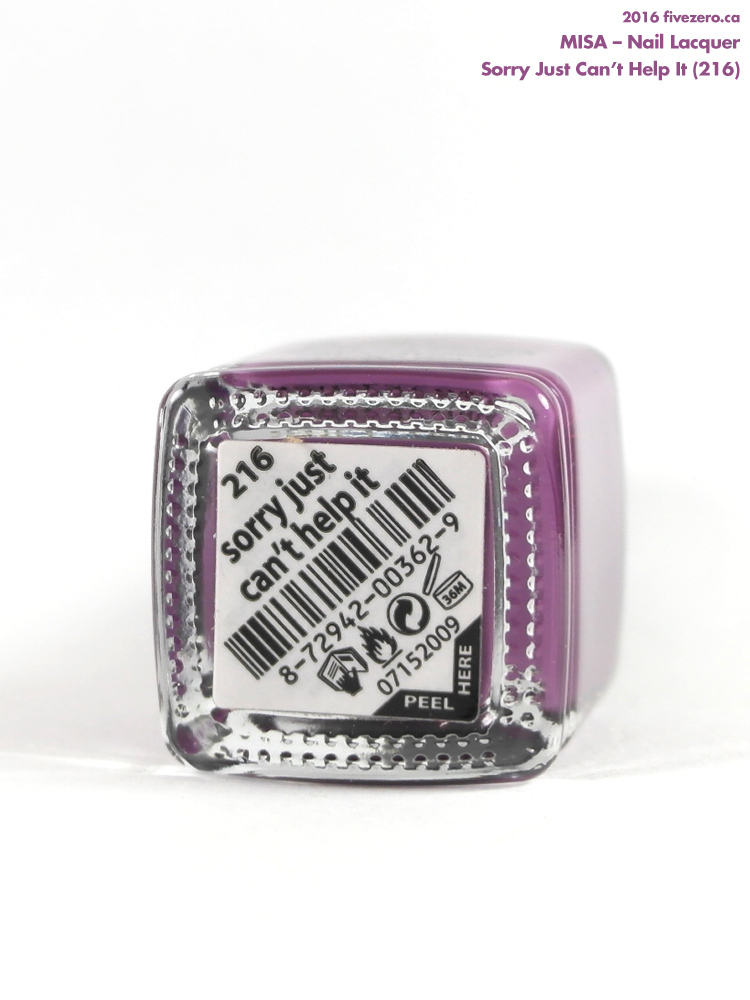Misa Nail Lacquer in Sorry Just Can't Help It, label