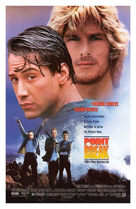Point Break 1991 poster, Keanu Reeves, Patrick Swayze